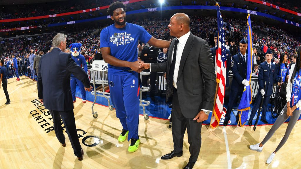 76ers star Joel Embiid and coach Doc Rivers