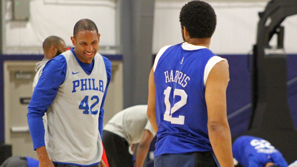 76ers forward Al Horford and Tobias Harris