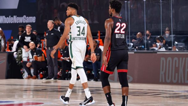 Bucks star Giannis Antetokounmpo and Heat star Jimmy Butler
