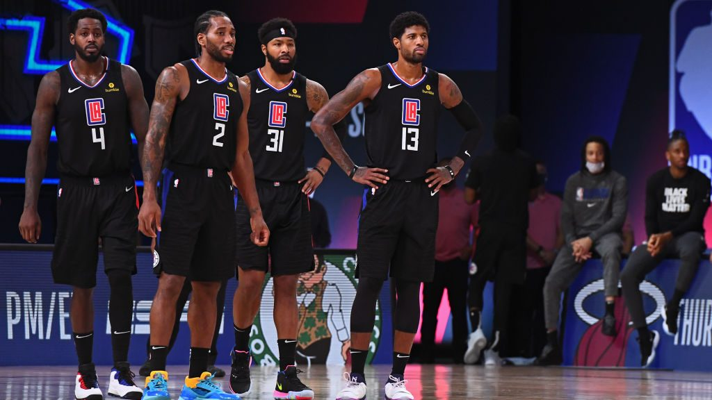 L.A. Clippers Jamychal Green, Kawhi Leonard, Marcus Morris and Paul George