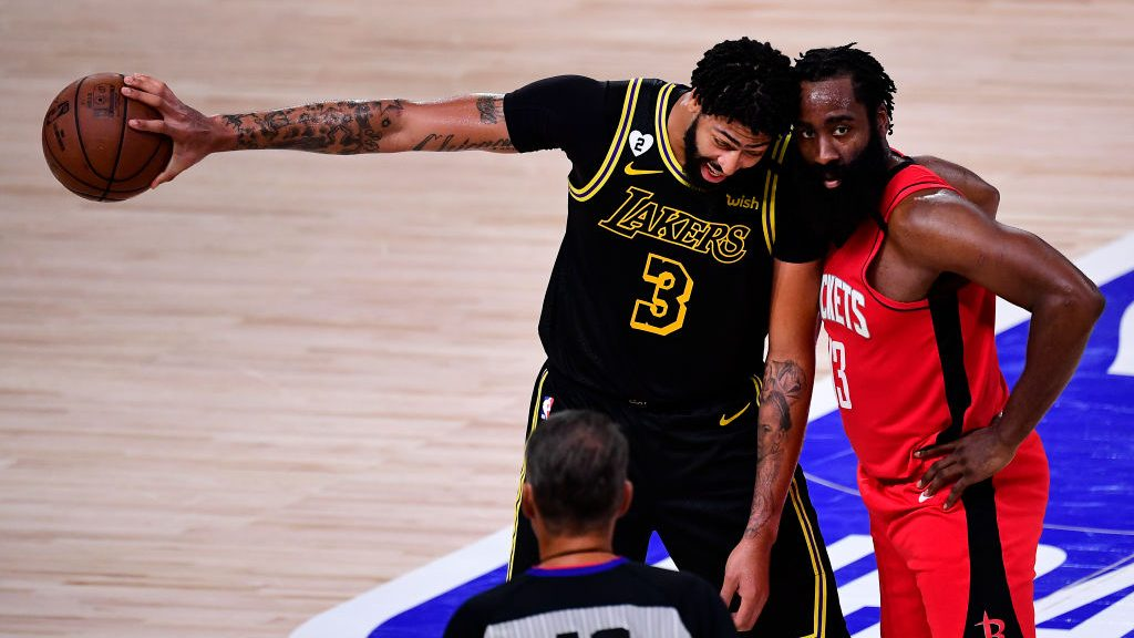 Anthony Davis and James Harden in Lakers-Rockets Game 2