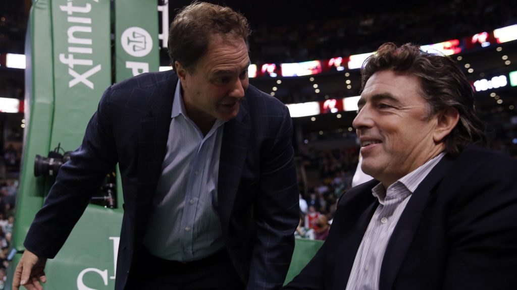 Boston Celtics owners Wycliffe Grousbeck (R) and Steve Pagliuca (L)