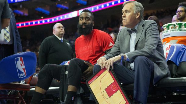 Mike D'Antoni and James Harden at Rockets-76ers game