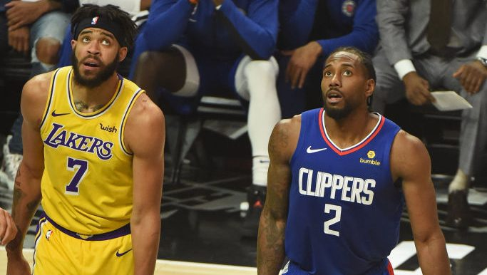Lakers center JaVale McGee and Clippers star Kawhi Leonard