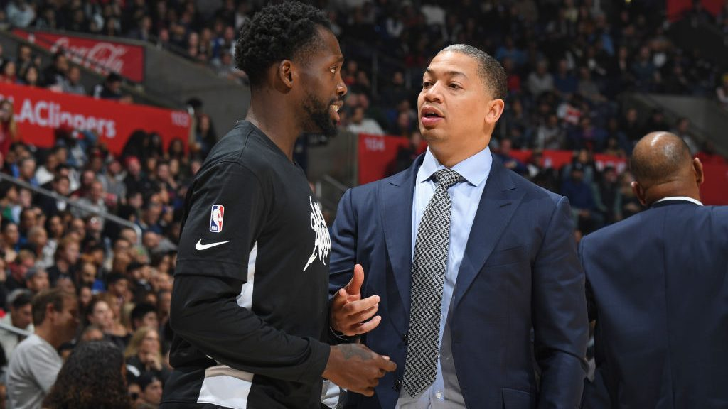 Former Rockets and current Clippers guard Patrick Beverley and Clippers assistant coach Tyronn Lue