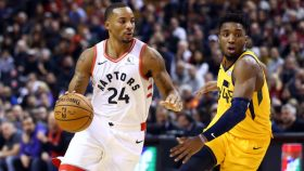 Raptors guard Norman Powell and former Louisville guard Donovan Mitchell