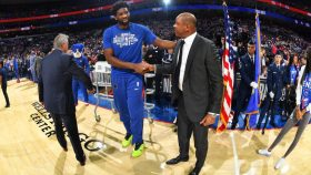 Doc Rivers and 76ers star Joel Embiid