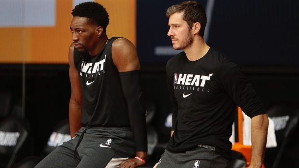 Heat players Bam Adebayo and Goran Dragic