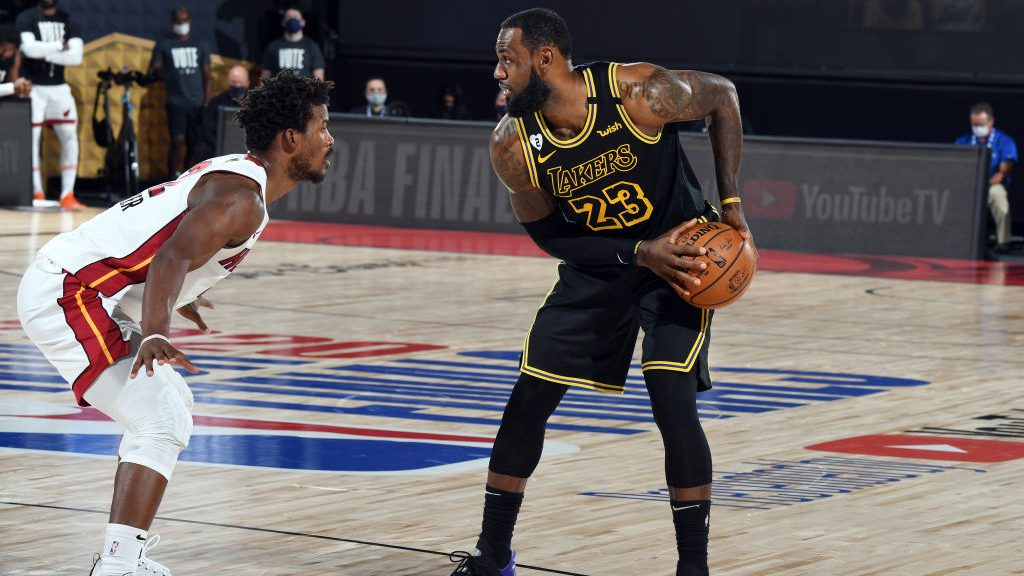 Heat star Jimmy Butler and Lakers star LeBron James