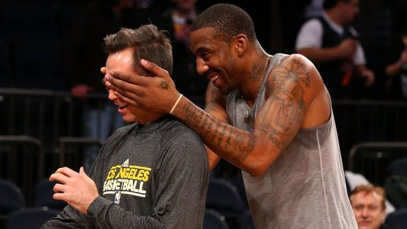 Nets coach Steve Nash and former Suns teammate Amar'e Stoudemire