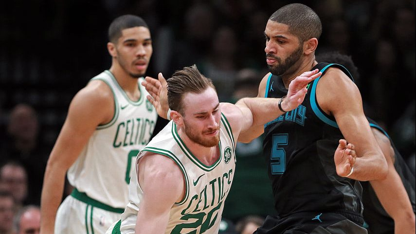 Celtics forward Gordon Hayward and Hornets forward Nicolas Batum