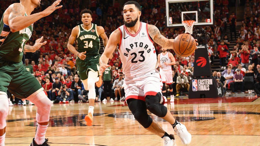 Raptors guard Fred VanVleet and Bucks star Giannis Antetokounmpo
