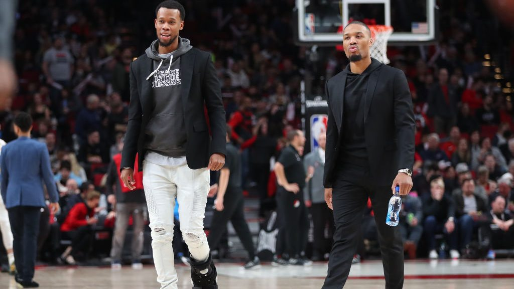 Trail Blazers wing Rodney Hood and star Damian Lillard