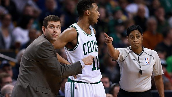 Celtics coach Brad Stevens and Evan Turner