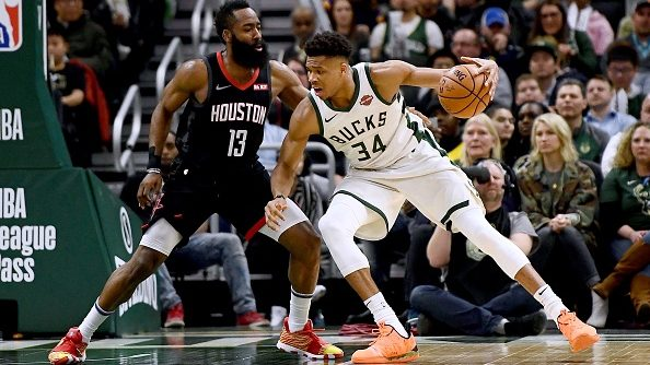 Rockets star James Harden and Bucks star Giannis Antetokounmpo