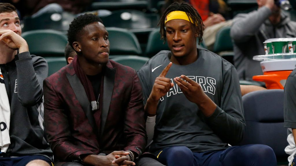 Pacers guard Victor Oladipo and center Myles Turner