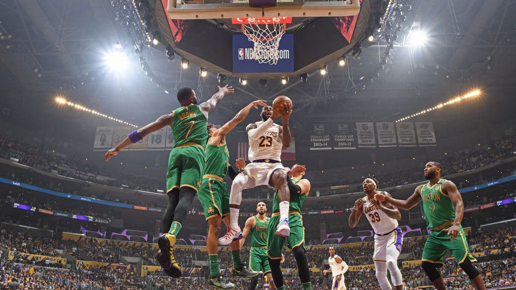 Lakers star LeBron James vs. Celtics