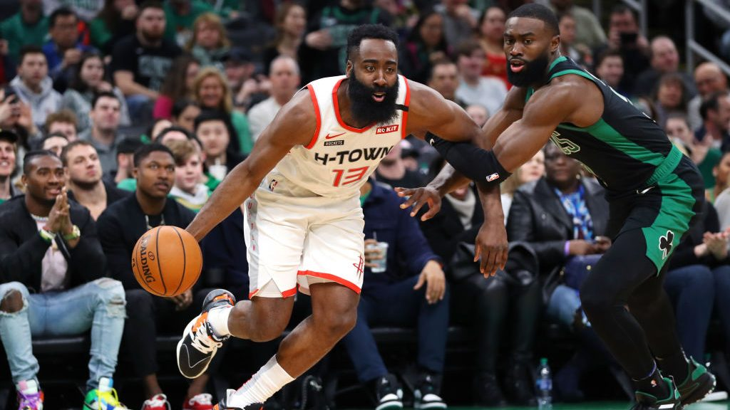 Rockets star James Harden and Celtics wing Jaylen Brown