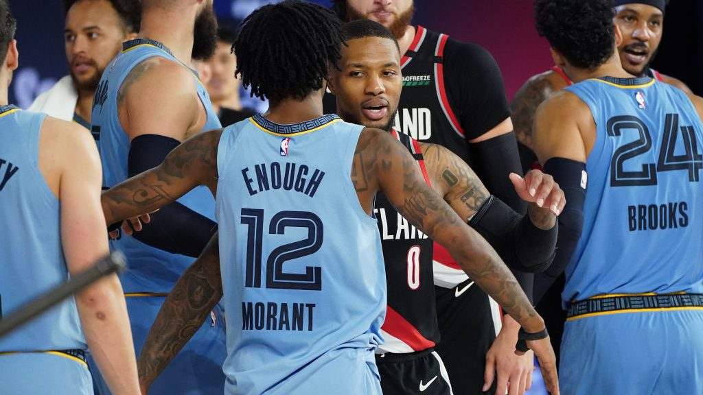 Grizzlies guard Ja Morant and Trail Blazers star Damian Lillard