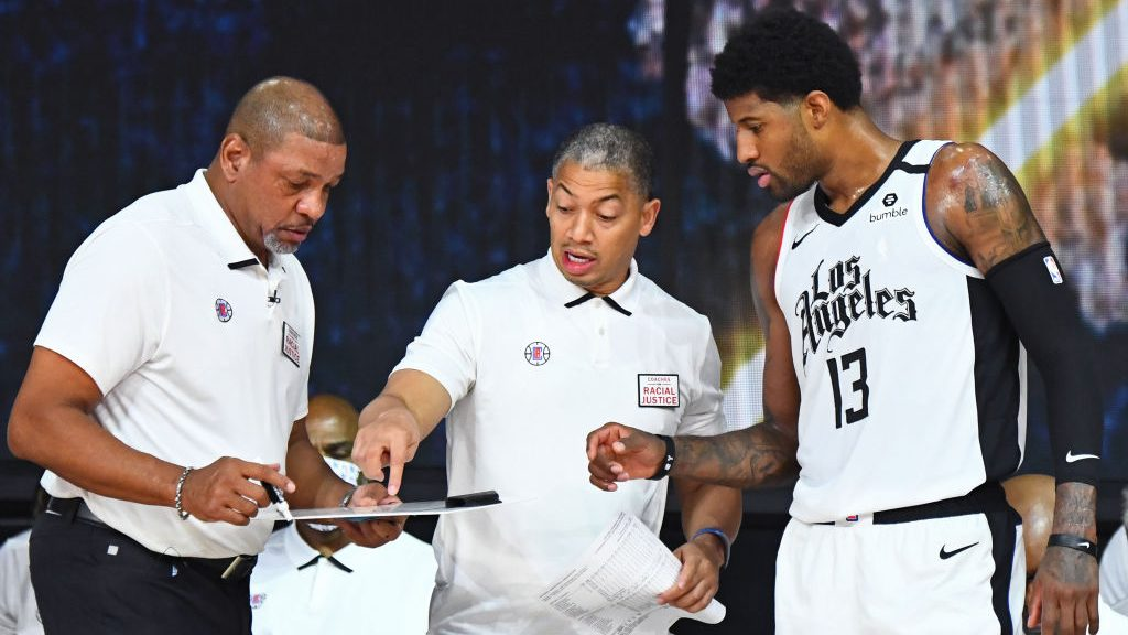 Former Clippers coach Doc Rivers, Tyronn Lue and Paul George