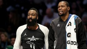 Rockets star James Harden and Nets star Kevin Durant