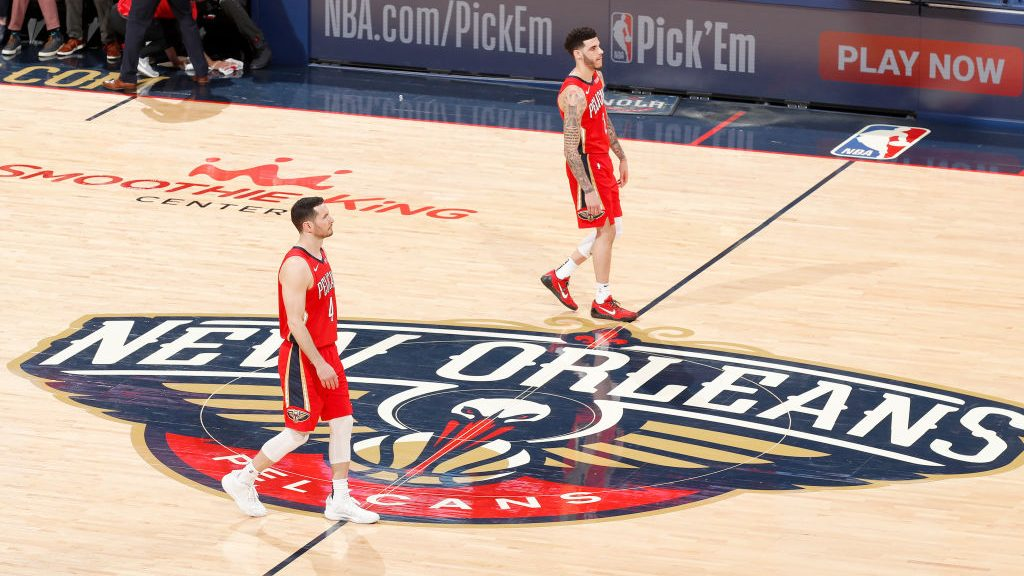 Pelicans guards Lonzo Ball and J.J. Redick