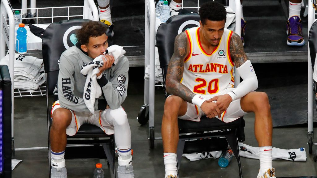 Hawks players Trae Young and John Collins