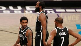 Nets star Kyrie Irving, James Harden and Kevin Durant