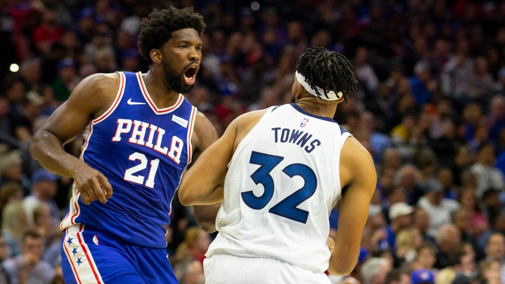 76ers star Joel Embiid and Timberwolves star Karl-Anthony Towns