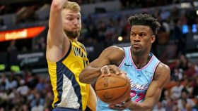 Heat star Jimmy Butler and Pacers big Domantas Sabonis