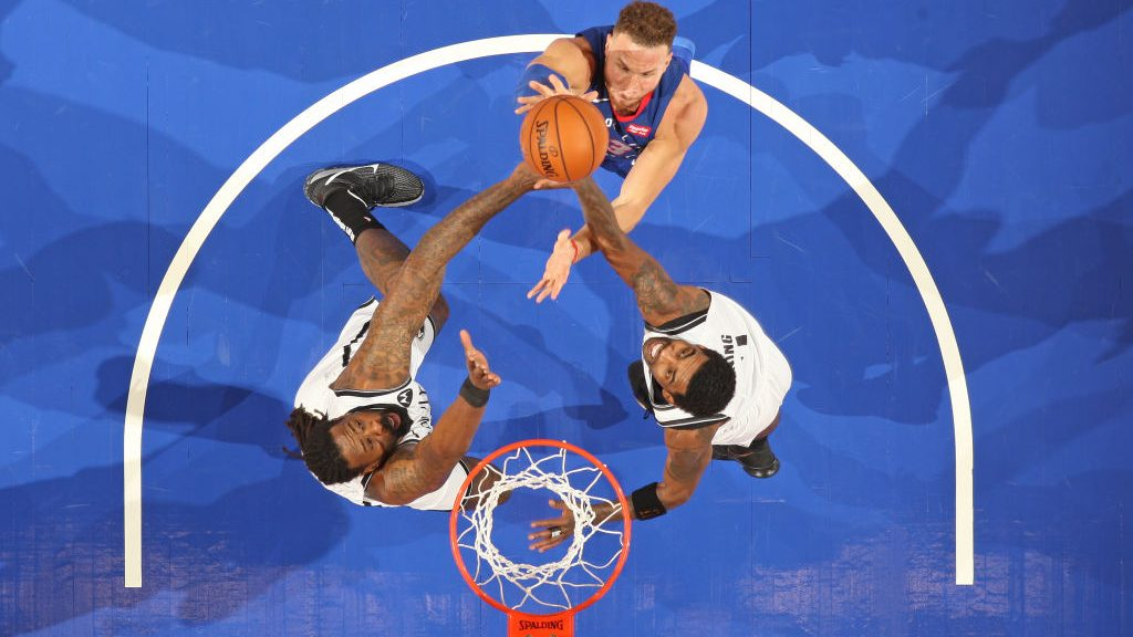 Former Pistons forward Blake Griffin and Nets players DeAndre Jordan and Kyrie Irving