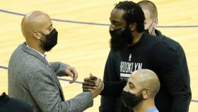 Rockets general manager Rafael Stone and Nets star James Harden