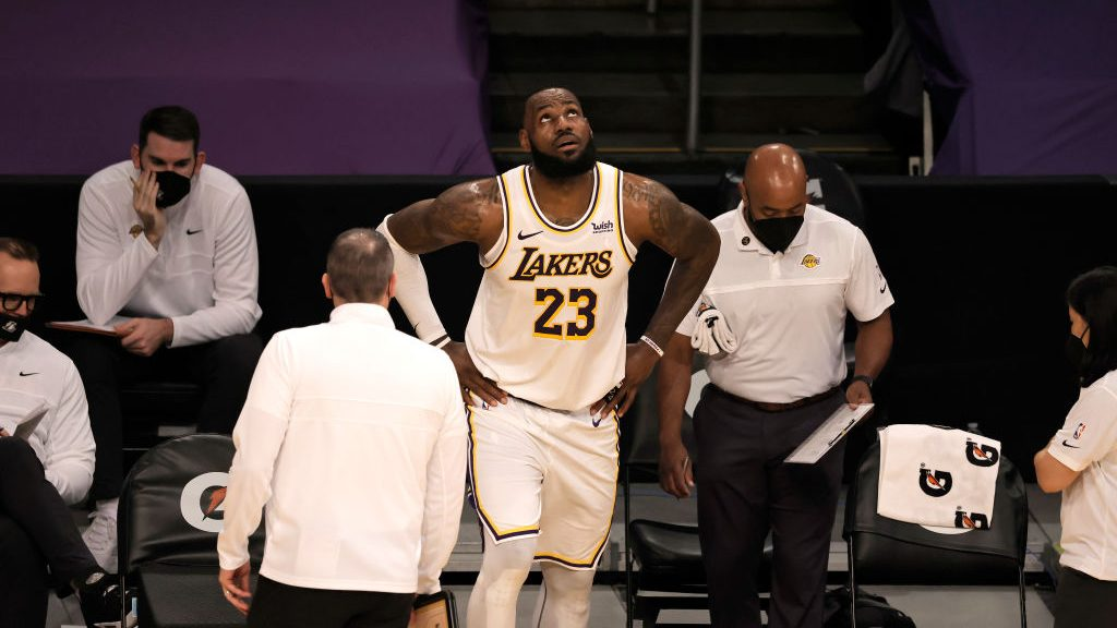 Lakers star LeBron James after ankle injury