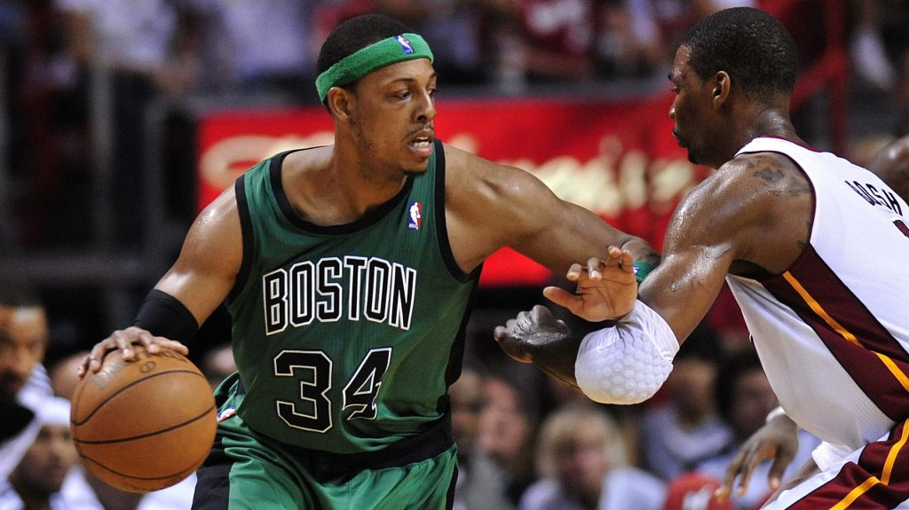 Celtics forward Paul Pierce and Heat big Chris Bosh