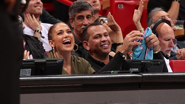 Jennifer Lopez and Alex Rodriguez at Miami Heat-Los Angeles Lakers game