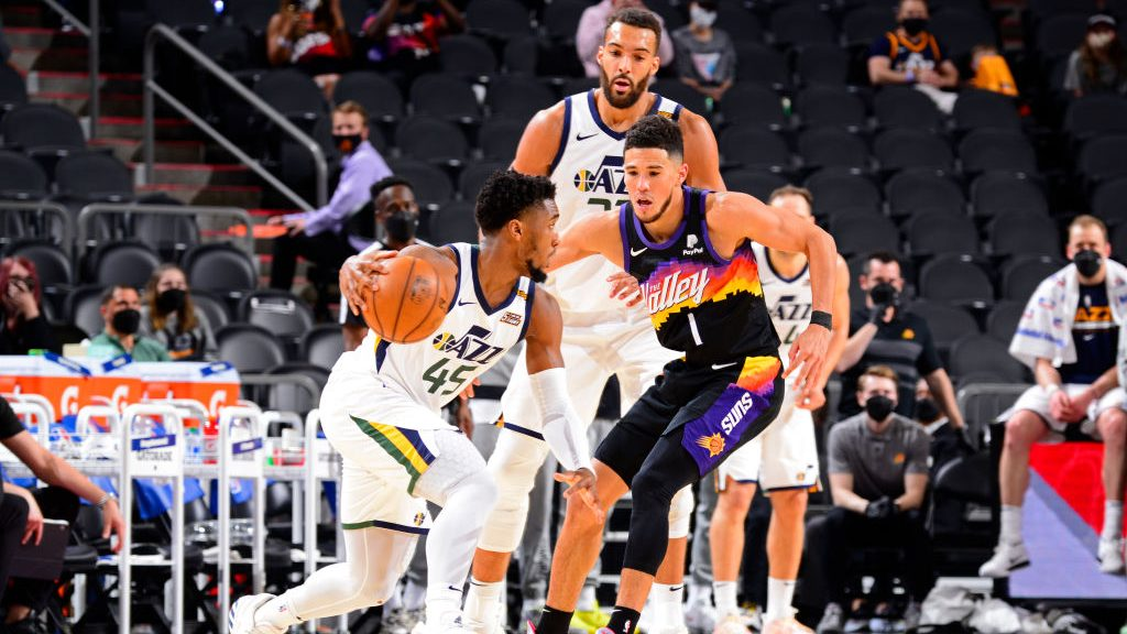 Jazz stars Donovan Mitchell and Rudy Gobert and Suns star Devin Booker
