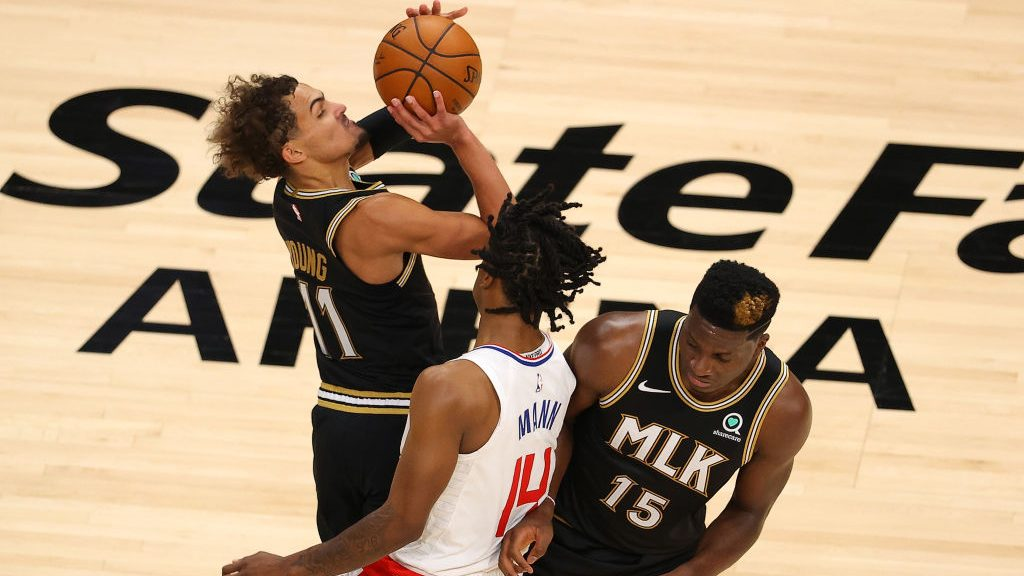 Hawks star Trae Young draws a foul