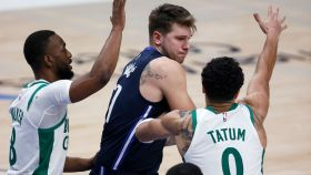 Mavericks star Luka Doncic and Celtics players Kemba Walker and Jayson Tatum