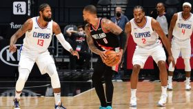 Clippers players Paul George, Kawhi Leonard and Rajon Rondo and Trail Blazers guard Damian Lillard