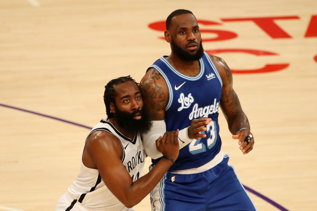 Nets star James Harden and Lakers star LeBron James