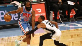 Nets star James Harden and Spurs guard Dejounte Murray