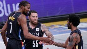 Kevin Durant, Mike James and Kyrie Irving in Nets-Cavaliers