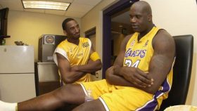 Lakers stars Shaquille O'Neal and Kobe Bryant during 2002 NBA Finals