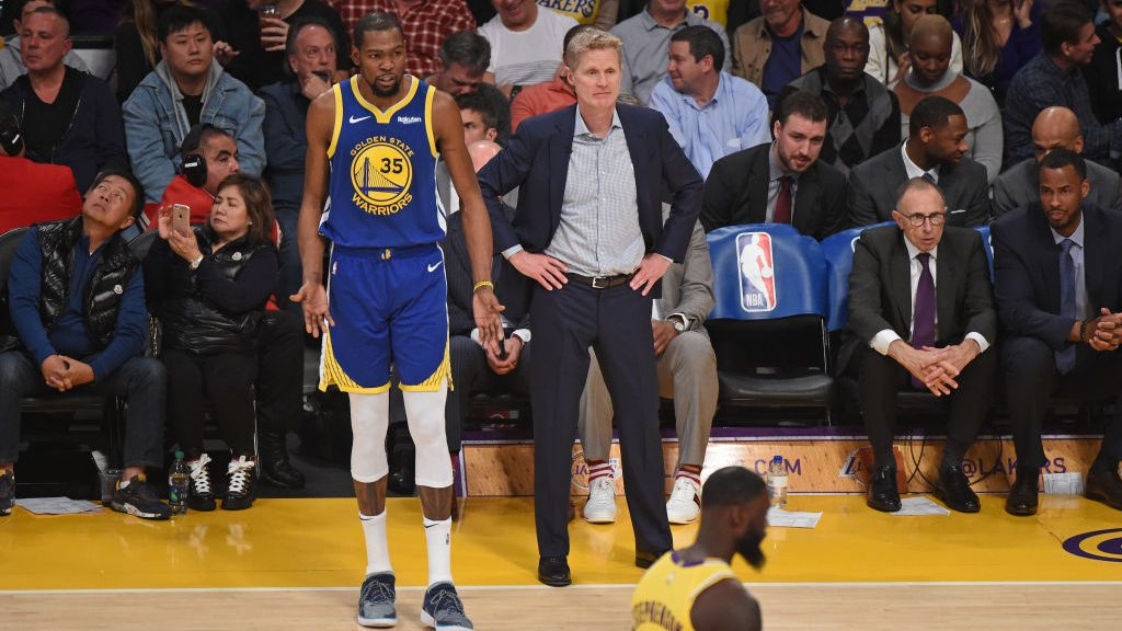 Kevin Durant and Warriors coach Steve Kerr
