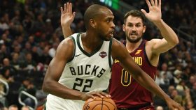 Bucks wing Khris Middleton and Cavaliers big Kevin Love