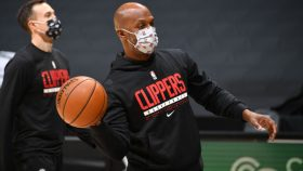 Chauncey Billups at Clippers-Trail Blazers game