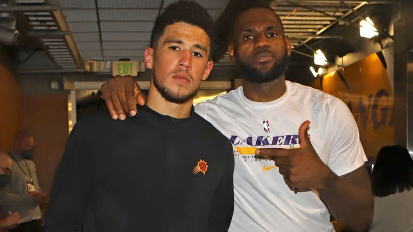 Devin Booker and LeBron James after Suns-Lakers