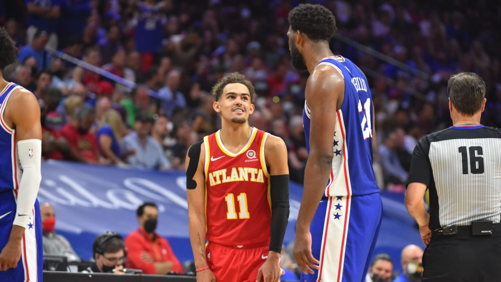 Trae Young and Joel Embiid in Hawks-76ers Game 5