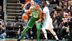 Celtics big Al Horford and Kemba Walker, who's getting traded to the Thunder