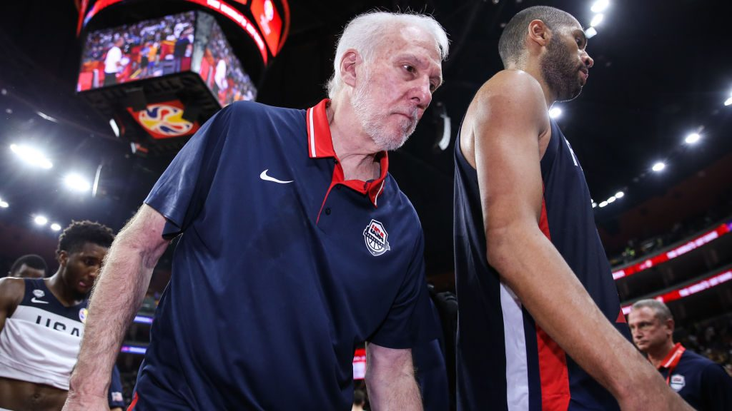 Gregg Popovich leaves after Team USA loses to France at 2019 FIBA World Cup